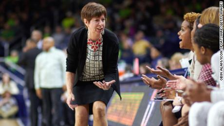 Notre Dame Fighting Irish head coach Muffet McGraw in action.