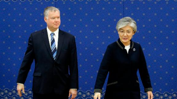 US special representative for North Korea Stephen Biegun and South Korean Foreign Minister Kang Kyung-wha seen in Seoul on October 29, 2018.