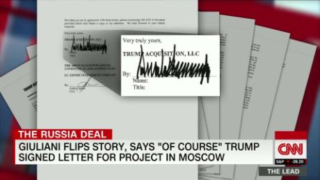 Giuliani flips story, admits Trump signed letter on Moscow deal