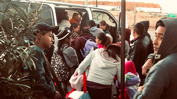 Central American and Mexican asylum seekers boarded a van to a migrant shelter in Nogales, Sonora, Mexico, on Dec. 13, 2018. They had been waiting from a day to two weeks to apply for asylum at the US port of entry in Nogales, Arizona.