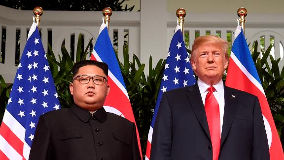 US president Donald Trump poses with North Korea
