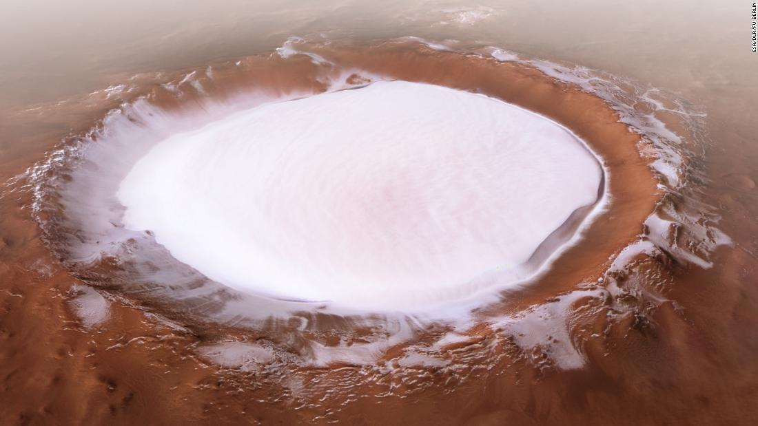 The European Space Agency's Mars Express mission captured this image of the Korolev crater, more than 50 miles across and filled with water ice, near the north pole.
