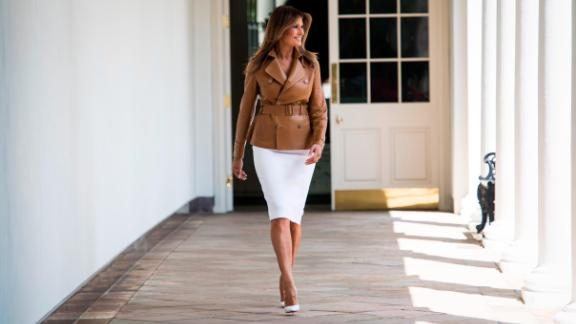 WASHINGTON, DC - MAY 7: First lady Melania Trump arrives to speak about her new Be Best program and initiatives during an event in the Rose Garden of the White House on Monday, May 07, 2018 in Washington, DC. (Photo by Jabin Botsford/The Washington Post via Getty Images)