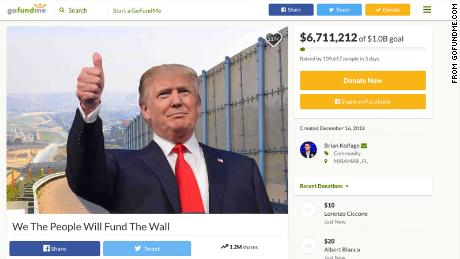 A Gofundme.com page has been started to fund the border wall.