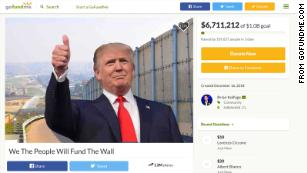 The border wall GoFundMe page sums up the Trump presidency