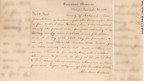 The signed letter of President Abraham Lincoln during the Civil War was written to a cousin of First Lady Mary Todd Lincoln.