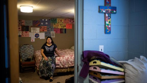 Juana Tobar poses for a portrait in her quarters at Saint Barnabas Episcopal Church in Greensboro, NC, December 17, 2018.