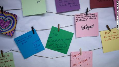 On a bulletin board at Saint Barnabas Episcopal Church in Greensboro, church members and Juana's family have posted reasons why they're grateful.