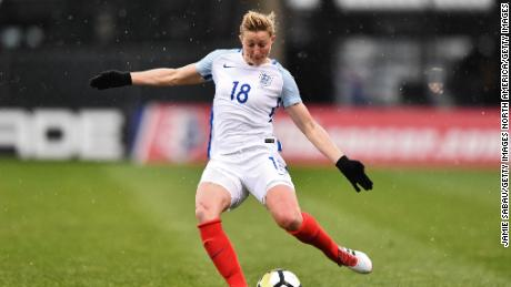 COLUMBUS, OH - MARCH 1:  Ellen White #18 of England controls the ball against France on March 1, 2018 at MAPFRE Stadium in Columbus, Ohio. England defeated France 4-1.  (Photo by Jamie Sabau/Getty Images)
