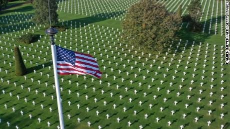 This aerial picture taken on October 15, 2018 shows Normandy American Cemetery close to Omaha beach in Colleville-sur-Mer, on the French western Norman coast. (Photo by DAMIEN MEYER / AFP)        (Photo credit should read DAMIEN MEYER/AFP/Getty Images)