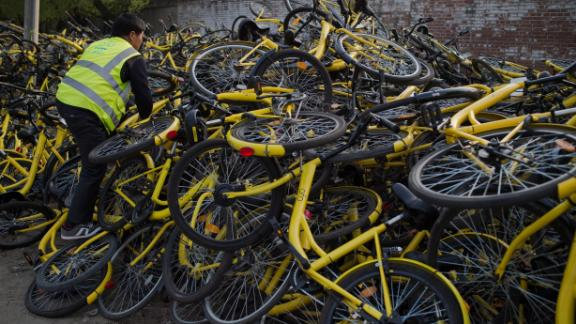 Ofo bikes waiting for repair in Beijing last year.