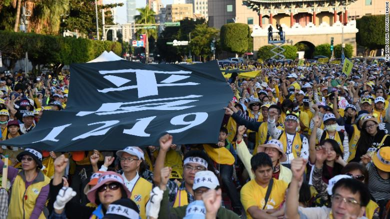 """Yellow Vest"" protesters gather in Taipei to demonstrate against Taiwanese President Tsai Ing-wen's government."