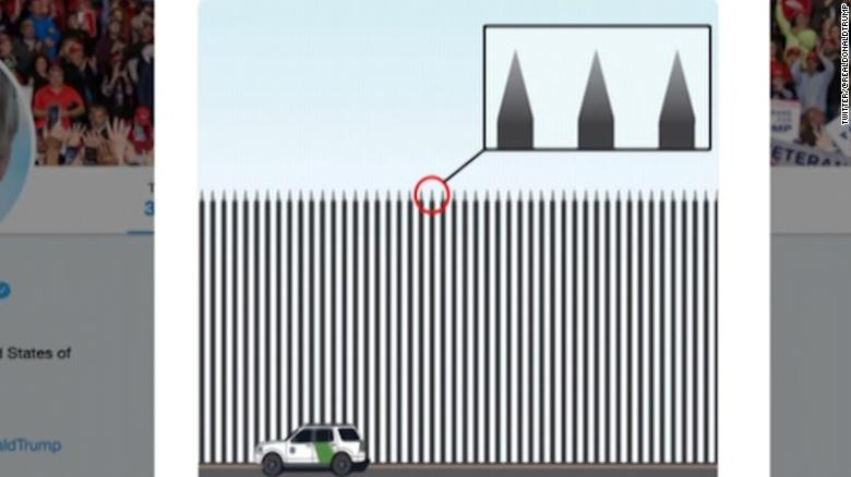 trump unveils new border barrier with spikes