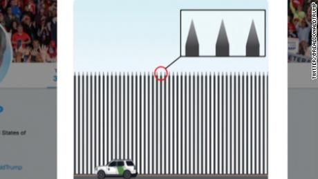 Trump unveils new border barrier (with spikes)
