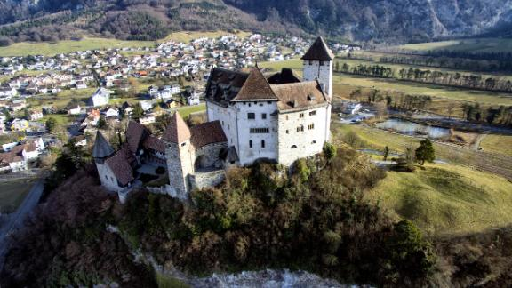Aerial view of Gutenberg Castle in Balzers in the Principality of Liechtenstein. (Photo by: Prisma by Dukas/UIG via Getty Images)