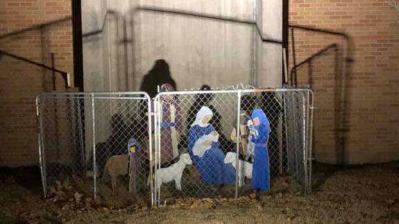 Fellowship Congregational Church in Tulsa, Oklahoma,  added a fence to its nativity scene this year.