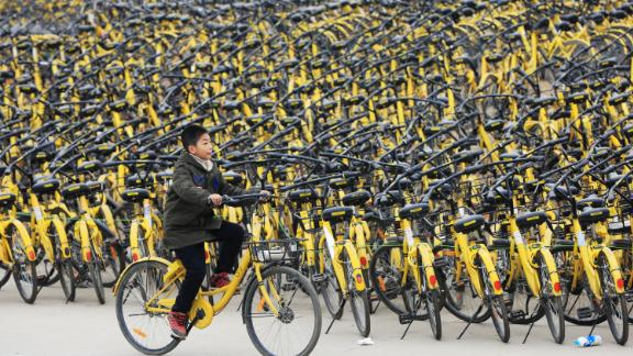 Ofo bikes waiting for repair or cleaning in Xiangyang, Hubei province, in January.