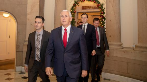 Vice President Mike Pence (C), and White House Senior Advisor Jared Kushner (2nd-R) leave Speaker of the House Paul Ryan's office on Capitol Hill on December 21, 2018 in Washington, DC. The U.S. Senate is considering a budget bill passed Thursday by the House of Representatives that would fund the federal government and includes more than $500 million for a wall along the U.S.-Mexico border. The Senate is unlikely to pass the bill with the wall funding, moving the government closer to a partial shut down just days before the Christmas holiday.