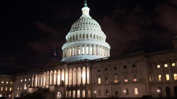 The US Capitol is seen ahead of a possible government shutdown, in Washington, DC, December 21, 2018. The US House of Representatives adjourned on December 21 without Congress passing a spending deal, assuring a partial government shutdown at midnight as President Donald Trump and lawmakers remain at odds over border wall funding.