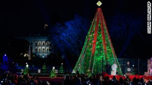 President Donald Trump and first lady Melania Trump light the National Christmas Tree, November 28, 2018.