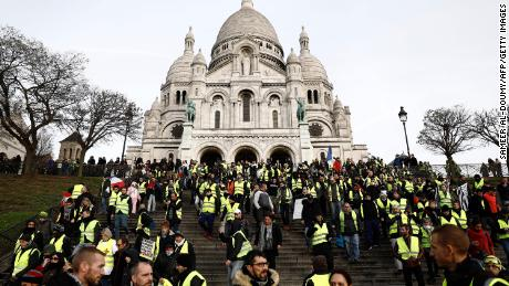 Protesters rally Saturday in the Montmartre area of Paris.