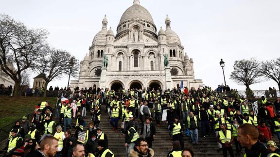 Demonstrators rally in the Montmartre area of Paris on December 22.