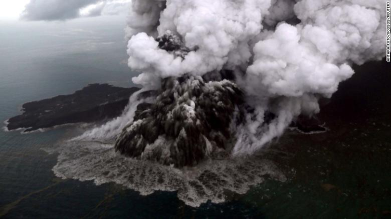 An aerial view of the Anak Krakatau volcano during an eruption in South Lampung, Indonesia, on Sunday. The tsunami is believed to have been triggered when the volcano, lying in the Sunda Strait between the islands of Java and Sumatra, erupted and set off a series of underwater landslides, according to Indonesia's Meteorology, Climatology and Geological Agency.