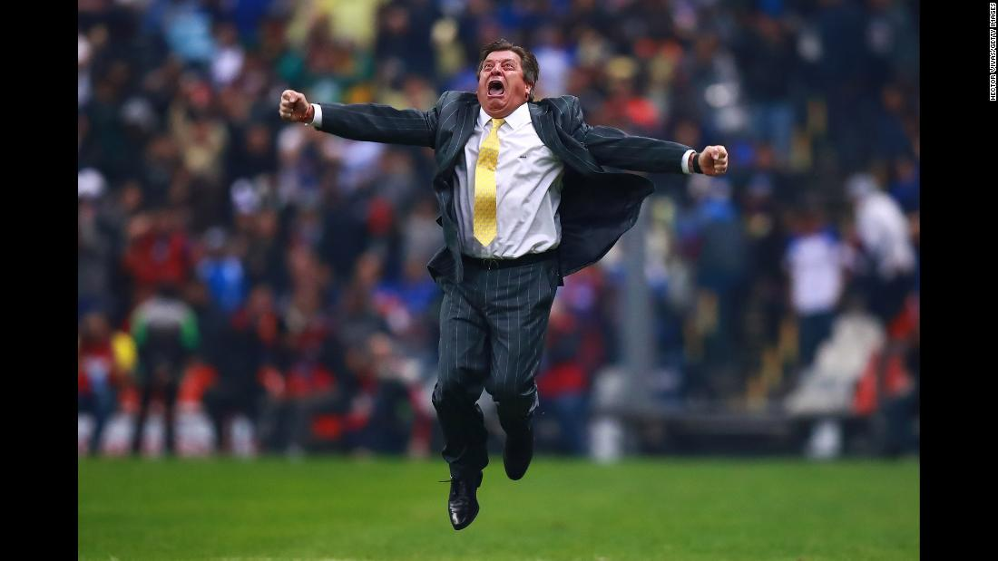 Club América coach Miguel Herrera celebrates after a match between Cruz Azul and Club América at Azteca Stadium on December 16, 2018 in Mexico City, Mexico. Club América won the match 2-0.