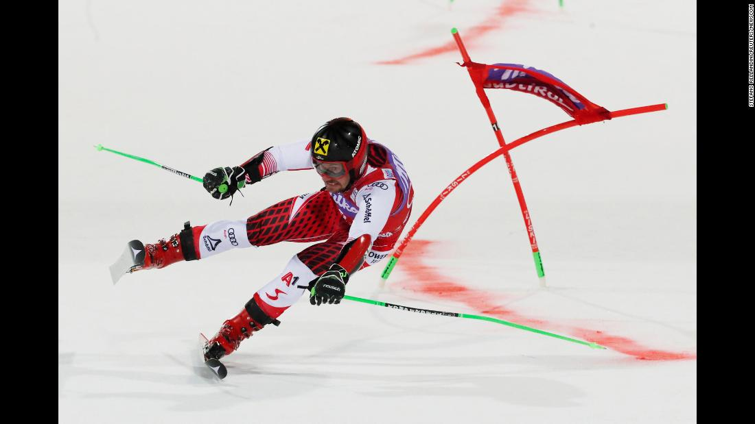 Austria's Marcel Hirsher attempts to maintain his balance during the Men's Parallel Giant Slalom at the Alpine Ski World Cup in Alta Badia, Italy on December 17.
