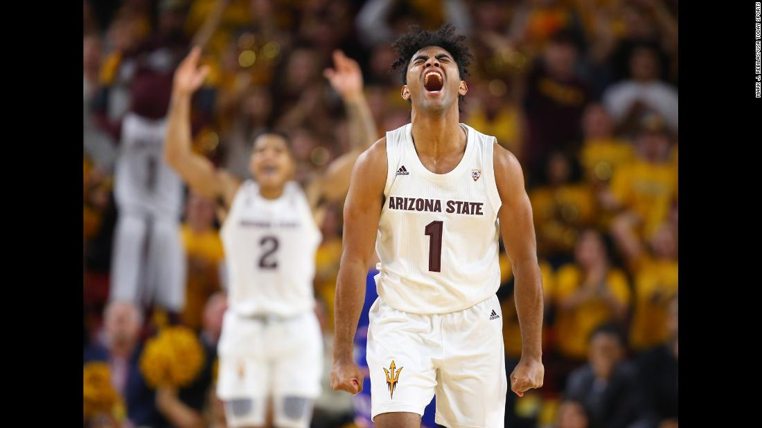 "Arizona State Sun Devils guard Remy Martin celebrates in the second half against the Kansas Jayhawks at Wells Fargo Arena on December 22. <a href=""https://bleacherreport.com/articles/2812095-no-18-arizona-state-upsets-dedric-lawson-no-1-kansas-80-78"" target=""_blank"">The 18th ranked Sun Devils upset the No. 1 Jayhawks,</a> handing Kansas its first loss of the season."