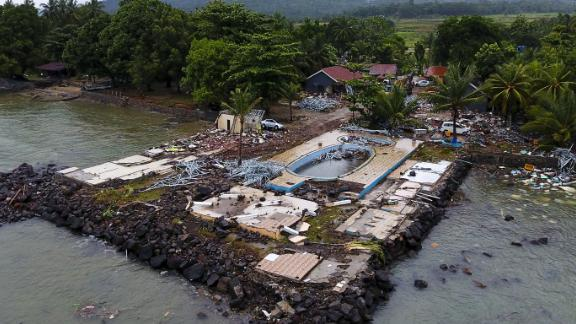 Debris covers a promontory at the Villa Stephanie holiday resort in Carita.