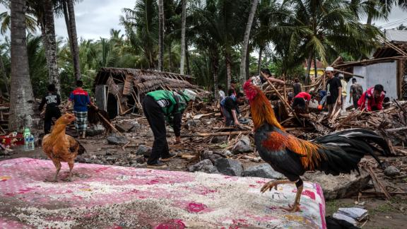 Villagers search through debris after the tsunami destroyed their houses.