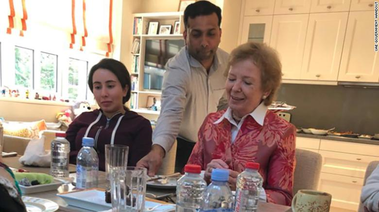 Sheikha Latifa is seen with former Irish president Mary Robinson in Dubai in a photo dated December 15, 2018.