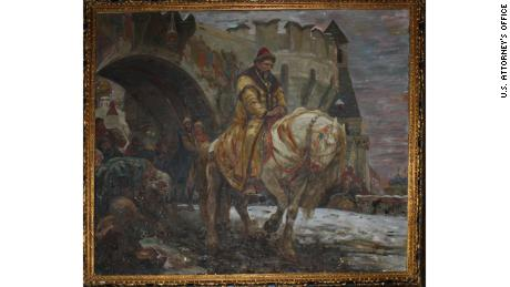 "The stolen painting, ""Secret Departure of Ivan the Terrible Before the Oprichina"" by Mikhail Panin, was recovered in Connecticut after being missing for decades."