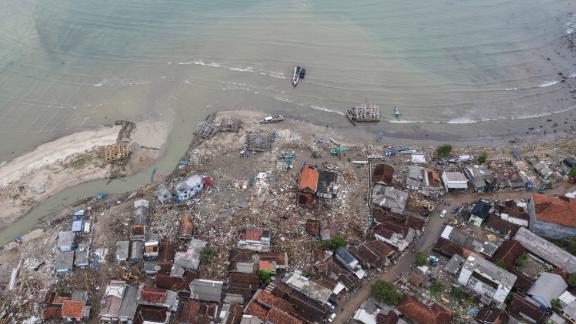 An aerial view of an affected area of Sumur.