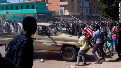 Anti-government protestors in Kordofan, Sudan on December 23.