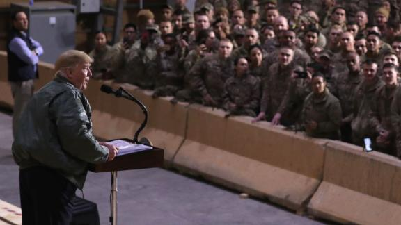 President Trump delivers remarks to the troops.