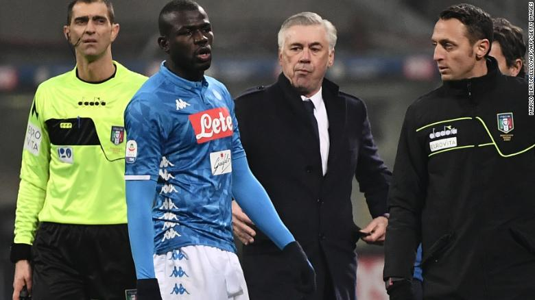 Kalidou Koulibaly leaves the pitch after receiving a red card in the game against Inter.