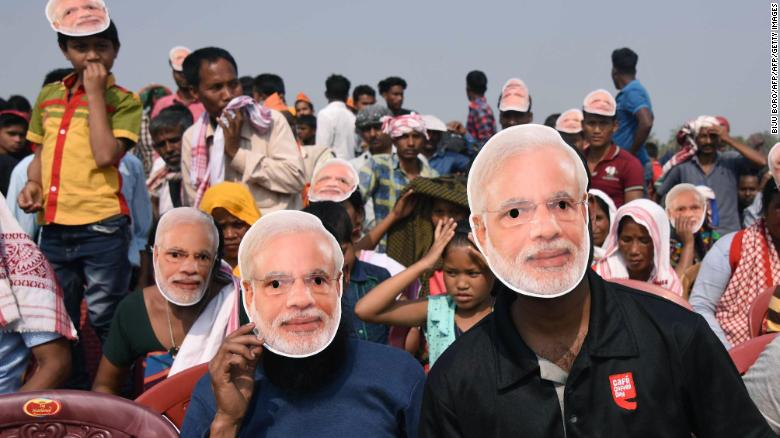 Supporters of the Bharatiya Janata Party (BJP) pictured wearing Modi masks in February 2018.