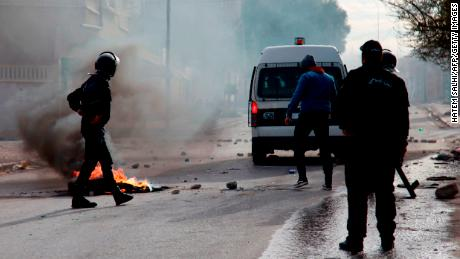 Police fired tear gas at dozens of people who took to the streets Monday night in the city of Kasserine.