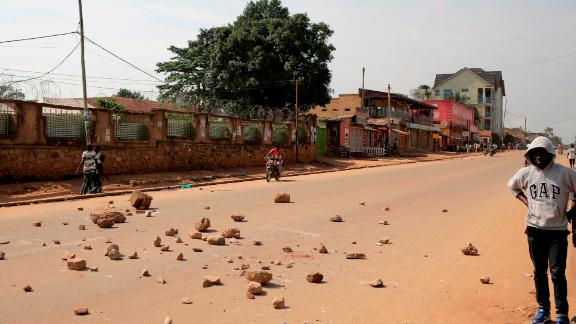 Demonstrators barricaded streets in Goma with stones