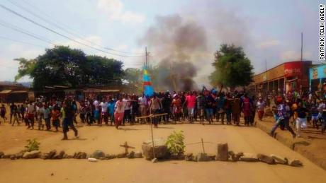Demonstrators protest in Beni in the Democratic Republic of Congo on Thursday, December 27.