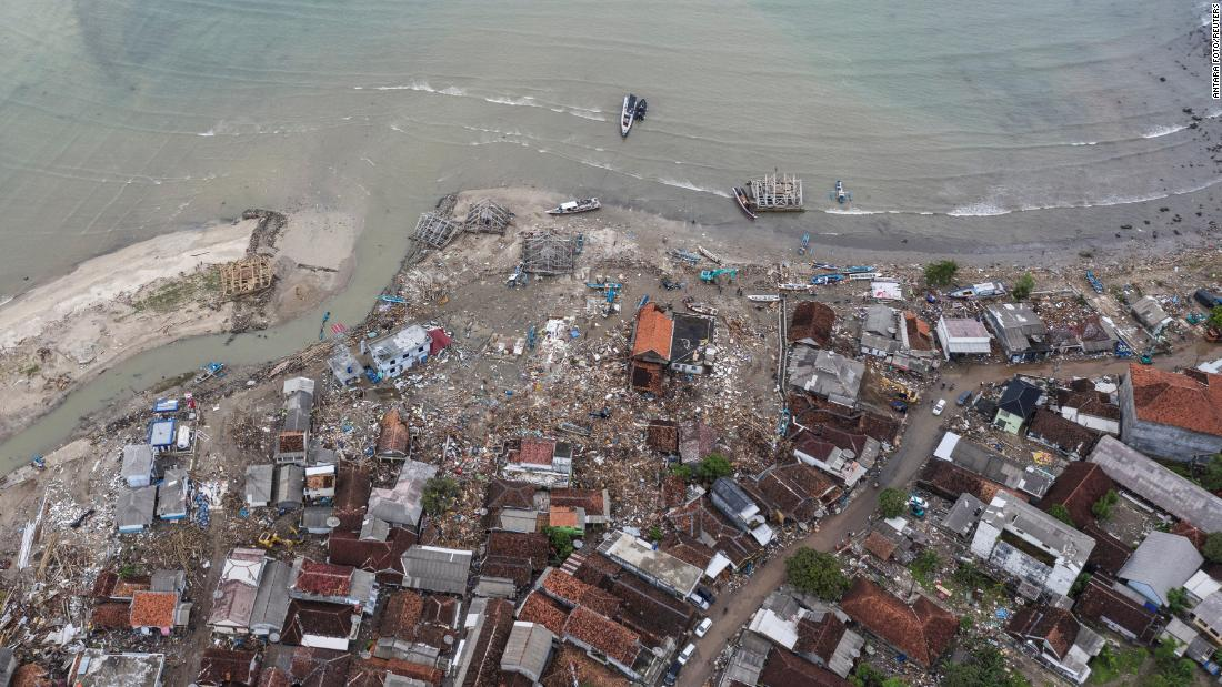 "An area of Pandeglang, Indonesia, that was hit by <a href=""https://www.cnn.com/2018/10/02/asia/indonesia-palu-tsunami-earthquake-intl/index.html"" target=""_blank"">a deadly tsunami</a> is seen from above on Tuesday, December 25."