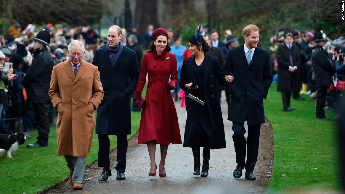 From left, Britain's Prince Charles; Prince William; Catherine, Duchess of Cambridge; Meghan, Duchess of Sussex and Prince Harry attend Christmas Day Church service at St. Mary Magdalene Church in Sandringham, Norfolk, Tuesday, December 25.