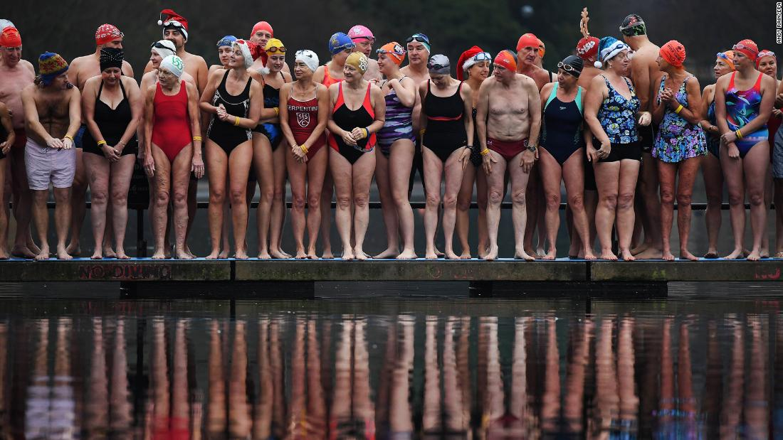 Participants line up for the annual Hyde Park Christmas Day Swim at Hyde Park in London on December 25.