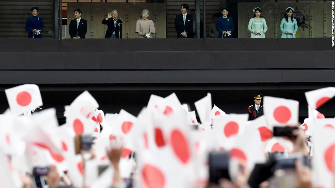 "Joined by Empress Michiko, fourth from left, and other members of the Imperial family, Japan's Emperor Akihito, third from left, waves during a public birthday appearance at the Imperial Palace in Tokyo on December 23. <a href=""https://www.cnn.com/2018/12/22/asia/japanese-emperor-akihito-last-birthday-statement/index.html"" target=""_blank"">The Emperor gave his an annual birthday statement on Saturday</a>, December 22, his last before he abdicates the throne in April."