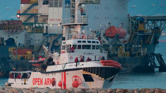 The ship of Spanish NGO Proactiva Open Arms arrives with 311 migrants on board in the southern Spanish port of Algeciras, in Campamento near San Roque, on December 28.