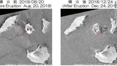 A satellite image comparison of Anak Krakatau before and after the tsunami.