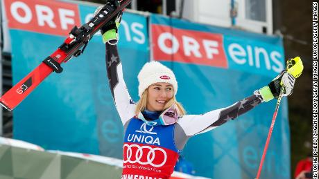 Mikaela Shiffrin of the USA celebrates her record-breaking victory in the World Cup event in Semmering in Austria.