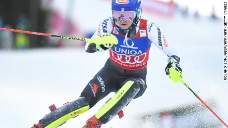 Mikaela Shiffrin turns on the style during her record breaking victory in the World Cup slalom event in Semmering in Austria to record her 15th World Cup victory of the season.